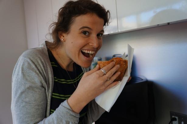 Lisa eating bunny chow